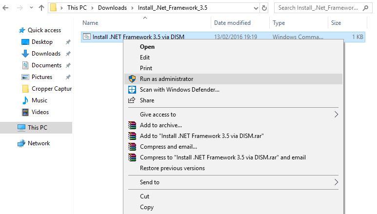 instal Net Framework 3.5 Offline di Windows 10