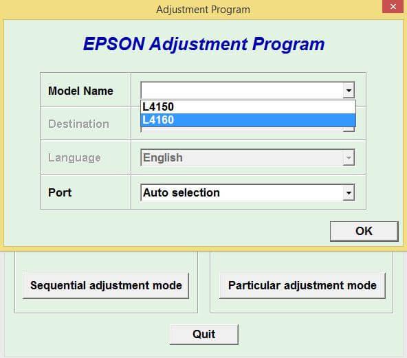 Resetter Epson L4150 L4160 Adjustment Program Gratis