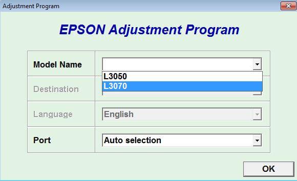 Resetter Epson L3050 L3070 Adjustment Program