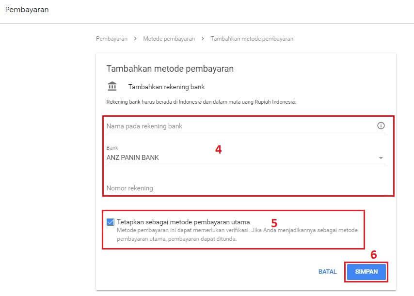 Cara Mangganti Nomor Rekening Google Adsense