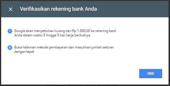 Verifikasikan rekening bank