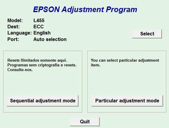 Resetter Epson L455 Adjustment Program