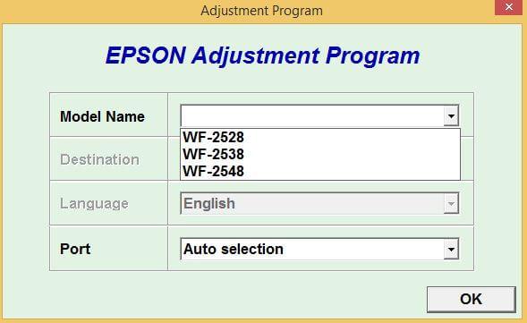 Resetter Epson WF2528, WF2538, WF2548 Gratis