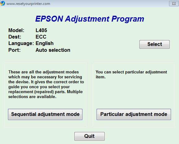Resetter Epson L405 Adjustment Program Gratis